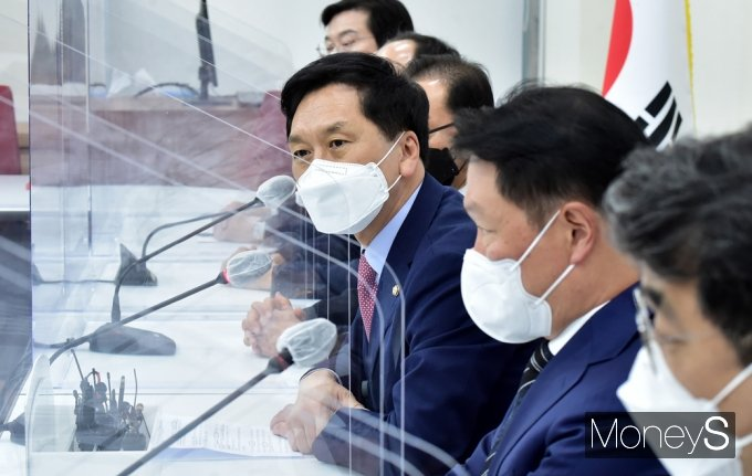 [머니S포토] 대한상의 국민의힘 예방, 인사말 전하는 김기현 대행