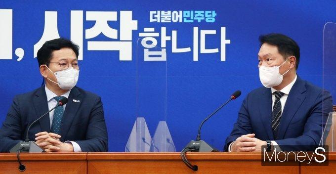 [머니S포토] 대한상의 민주당 예방, 국회에서 만난 최태원·송영길