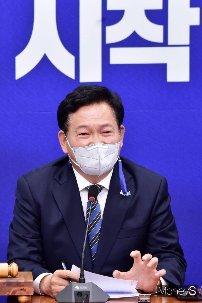 """[머니S포토] 송영길 """"김부겸 新 총리, 풍부한 경험있고 통합적 정치 구현해오신 분"""""""