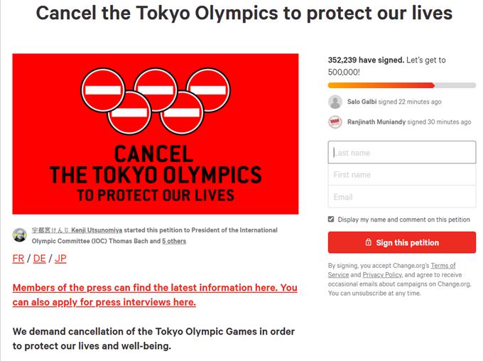 최근 국제 온라인 청원 사이트에 도쿄올림픽 중단을 촉구하는 청원이 올라왔다. 해당 청원은 14일 오후 2시 기준 35만명이 동의했다. /사진=체인지닷오알지 캡처