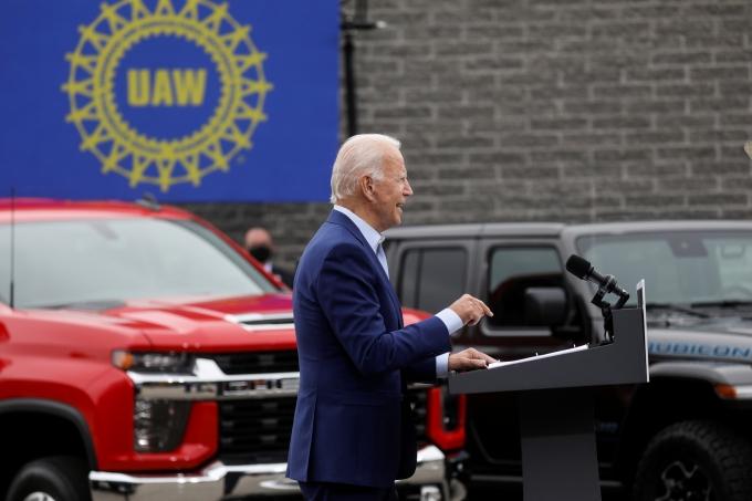 조 바이든 미국 대통령이 자동차산업의 심장 미시건주를 방문, 연설하고 있다. /사진=로이터