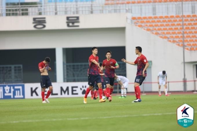 후반 종료 직전 극적인 동점골을 넣은 김천 조규성. (한국프로축구연맹 제공) © 뉴스1