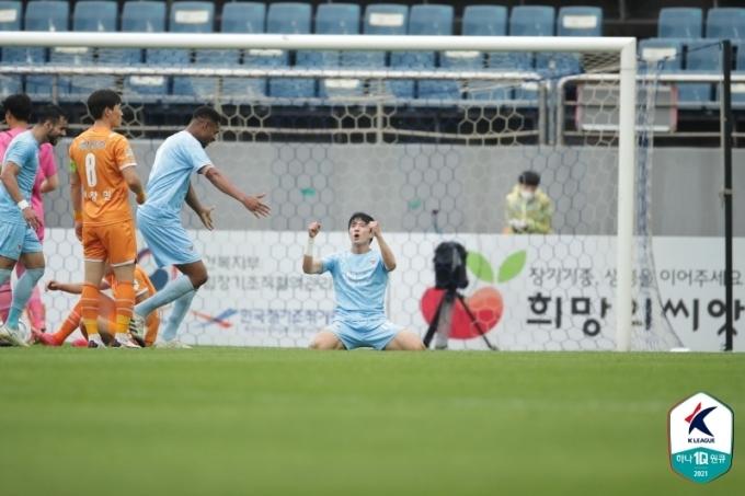 시즌1호골이자 결승골을 터뜨린 대구FC의 정승원(한국프로축구연맹 제공)© 뉴스1