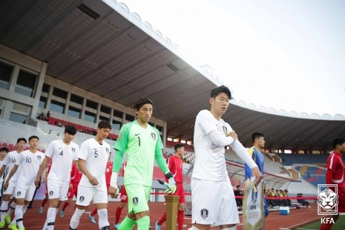 평양에서 북한을 상대했던 한국 대표팀(대한축구협회 제공)© 뉴스1