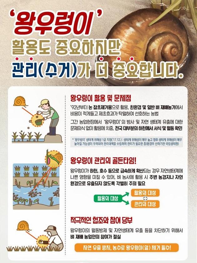 왕우렁이 관리홍보 리플릿. / 자료제공=농림축산식품부