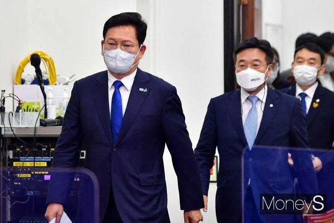 [머니S포토] 민주당 최고위 참석하는 송영길 대표와 윤호중 원내대표