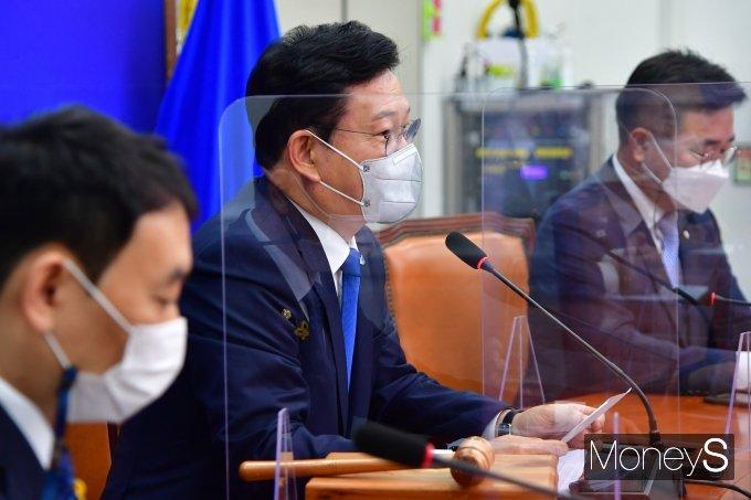 [머니S포토] 민주당 최고위원회의, 발언하는 송영길 대표