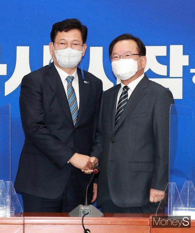 [머니S포토] 김부겸 신임 총리, 송영길 대표 예방