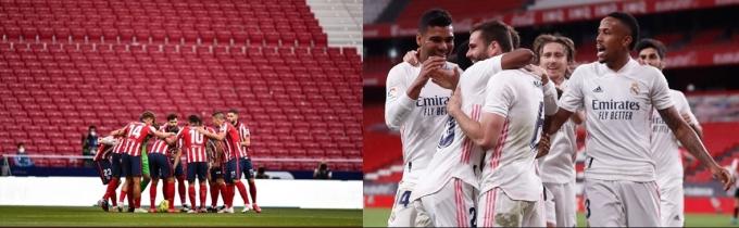 라리가는 1위 아틀레티코(AT) 마드리드(승점 83)와 2위 레알 마드리드(승점 81)의 우승 경쟁으로 압축됐다. 두 팀의 승점 차가 2점에 불과한 만큼 마지막 라운드 결과까지 지켜봐야 우승팀을 알 수 있다. /사진=AT 마드리드, 레알 구단 트위터 캡처