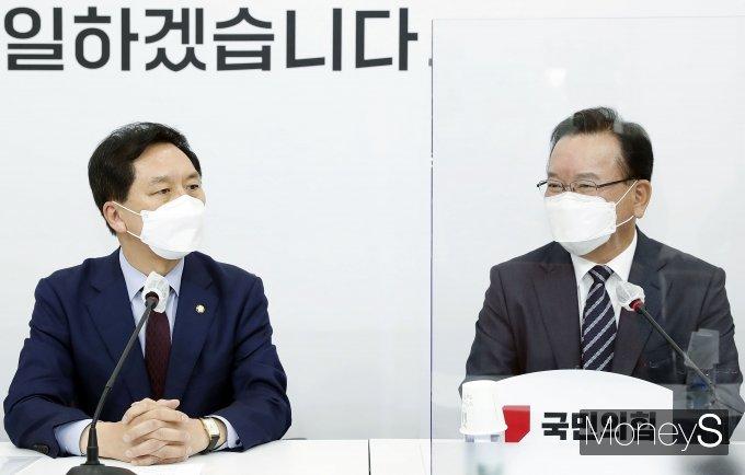 """[머니S포토] 김부겸 총리 접견한 김기현 """"임명동의안 강행 유감"""""""
