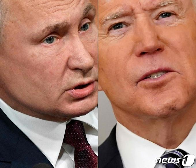 블라디미르 푸틴 러시아 대통령(왼쪽)과 조 바이든 미국 부통령. © AFP=뉴스1