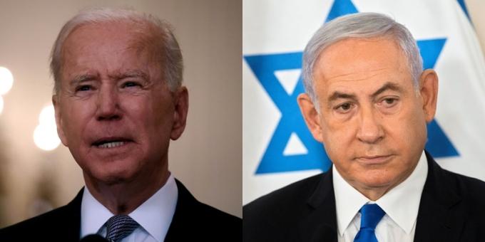 조 바이든(왼쪽) 미국 대통령이 19일(현지시각) 베냐민 네타냐후 이스라엘 총리와의 통화에서 팔레스타인 무장정파 하마스와의 긴장완화 조치에 나서달라고 촉구했다. /사진=로이터