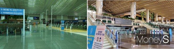 활기 잃은 인천국제공항(좌)과 김포공항 국제선 모습./사진=지용준 기자