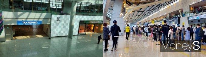 인천국제공항 면세점(좌), 김포공항 국내선 출발장(우)./사진=지용준 기자