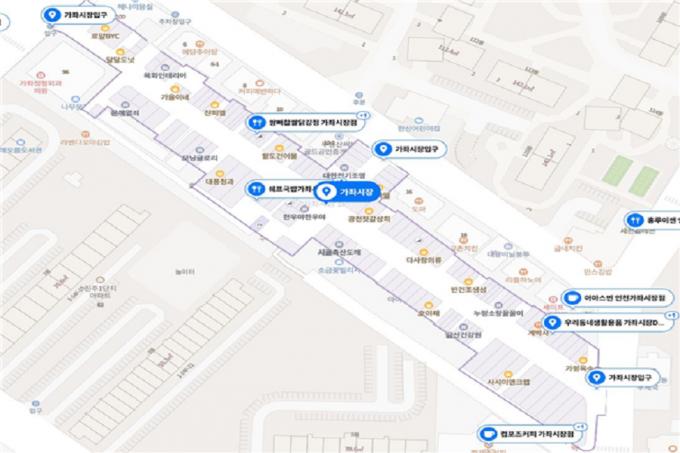 인천시는 전국 최초로 관내 전통시장 58개소에 대한 정밀지도 데이터베이스를 구축해 인터넷 포털사이트에 제공하는 서비스를 시작했다./사진=인천시 캡처