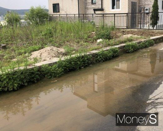 맑은 날씨에도 타운하우스 앞 도로에 물웅덩이가 있다. 배수가 안돼 도로 곳곳이 물에 잠긴 상태다. /사진=김노향 기자