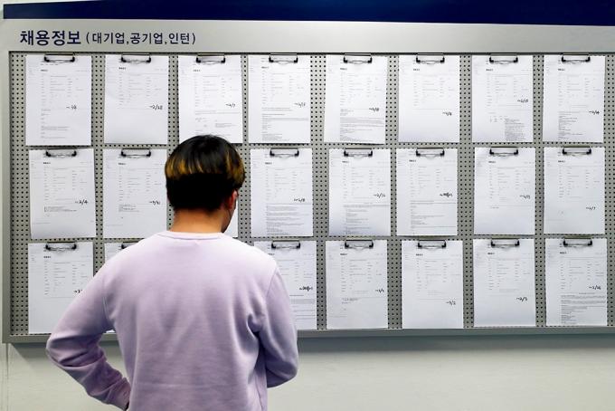 서울의 한 대학교 내 취업광장에서 한 학생이 채용정보 게시판을 보고 있다. / 사진=뉴시스 이윤청 기자