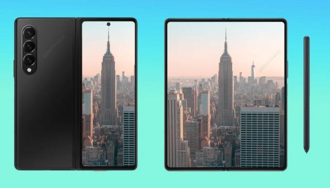 삼성전자가 오는 8월 출시 예정인 폴더블폰 '갤럭시Z폴드3' 생산에 돌입한 것으로 알려졌다. 사진은 갤럭시Z폴드3 렌더링 이미지. /사진제공=샘모바일