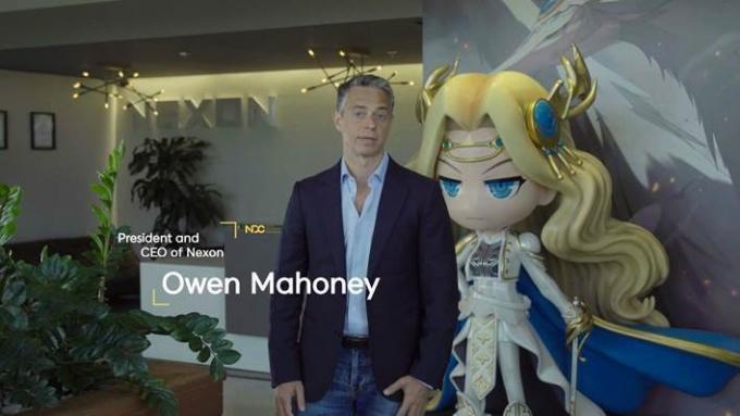 9일 오웬 마호니 넥슨(일본법인) 대표이사는 NDC 개막 환영사를 통해 '혁신'을 강조했다. /사진제공=넥슨