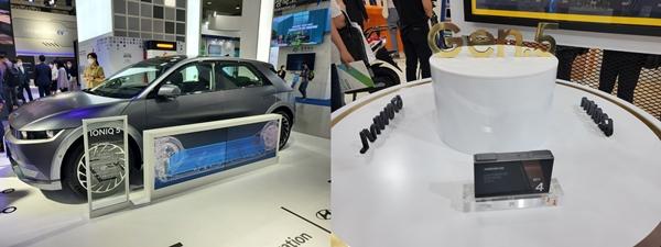 SK이노베이션 NCM8 배터리가 탑재된 현대차의 '아이오닉5'(왼쪽)와 삼성SDI의 5세대 배터리 'Gen.5'가 전시돼 있다. /사진=권가림 기자