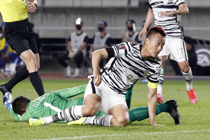 김신욱이 지난 9일 오후 경기 고양종합운동장에서 열린 스리랑카와의 2022 카타르월드컵 2차예선 5차전에서 선제골을 기록했다. /사진=뉴스1