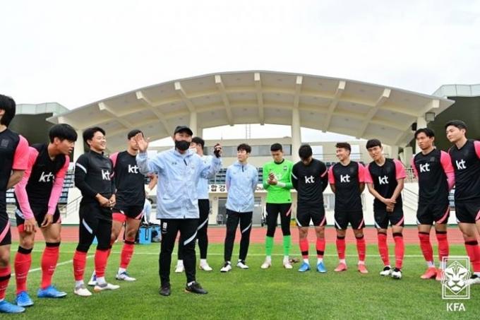 지난 2일 2020 도쿄올림픽 남자축구대표팀이 제주 강창학구장에서 가나 대표팀과의 평가전을 대비해 훈련하고 있다. /사진=뉴스1