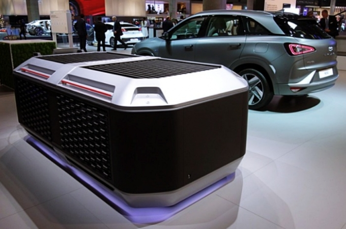 현대차그룹이 제공하는 이동형 연료전지 발전 시스템은 수소전기차 넥쏘에 적용된 연료전지 시스템의 2기에 해당하는 출력인 총 160kW 급 발전 모듈로 ETCR 경주차 (65kW 배터리 동일 사용) 2대를 동시에 1시간 이내에 충전할 수 있다. /사진제공=현대차그룹