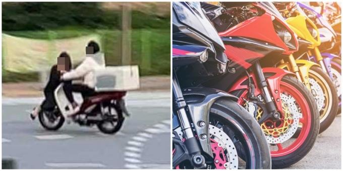 주행 중인 오토바이 앞쪽에 사람이 앉아있는 사진에 누리꾼들이 깜짝 놀랐다./ 사진=인스타그랩 캡처, 이미지투데이