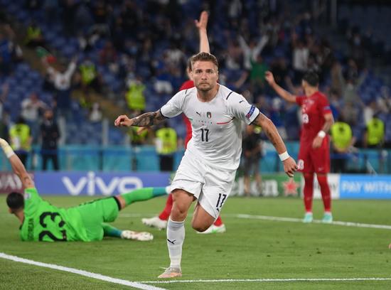 치로 임모빌레(이탈리아)가 12일 오전(한국시각) 이탈리아 로마 올림피코에서 열린 터키와의 유로2020 A조 경기에서 팀의 두 번째 골을 터트렸다 /사진=로이터