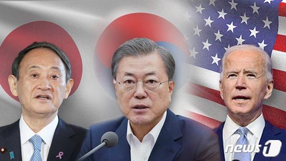 스가 요시히데 일본 총리와 문재인 대통령, 조 바이든 미국 대통령(왼쪽부터). © News1 이은현 디자이너