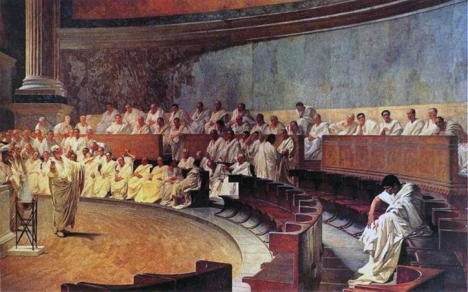 이탈리아 화가 케사레 마카리(1840~1919)의 '카틸리나를 정죄하는 키케로'© 뉴스1