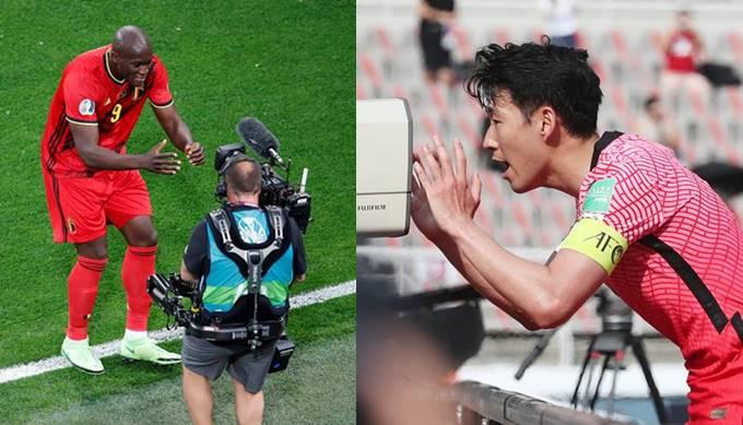 지난 13일(한국시각) 유로2020 1차전에서 쓰러진 크리스티안 에릭센을 위해 골 세리머니를 한 로멜루 루카쿠(왼쪽)와 손흥민./사진=로이터, 뉴스1
