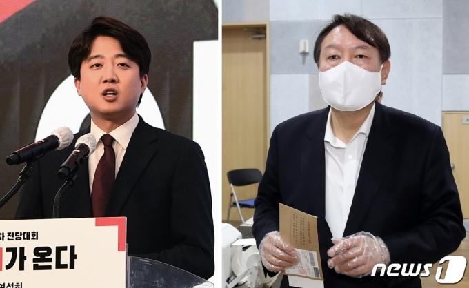 이준석 국민의힘 대표(왼쪽)와 윤석열 전 검찰총장© 뉴스1