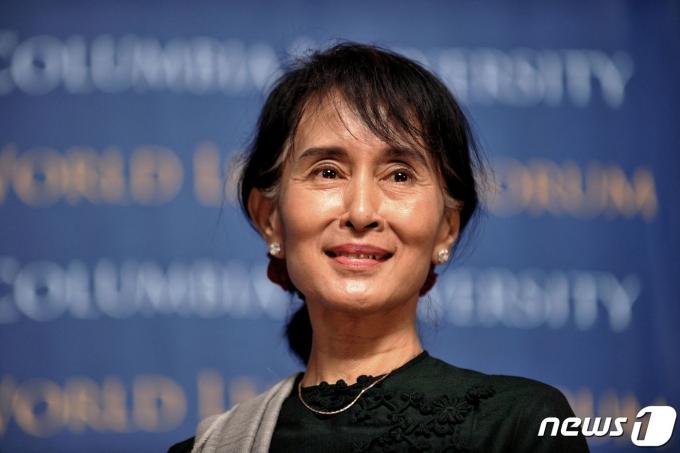 아웅산 수치 미얀마 국가고문에 대한 재판이 14일 시작됐다. © AFP=뉴스1