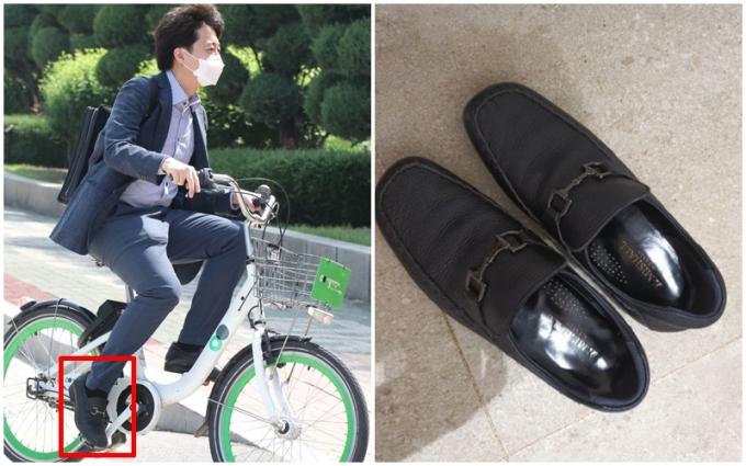 이준석 대표가 페라가모 논란에 휩싸이자 신고 다니는 신발을 공개하며 대처했다./ 사진=뉴스1, 페이스북 캡처