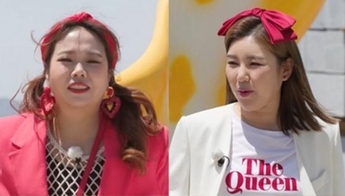 """송가인(오른쪽)이 MC 홍현의가 진행하는 프로그램 '랜선장터'에 출연해 """"최근 다이어트로 5㎏를 감량했지만 TV 화면에는 통통하게 나온다""""며 속상함을 드러냈다. /사진='랜선장터' 제공"""