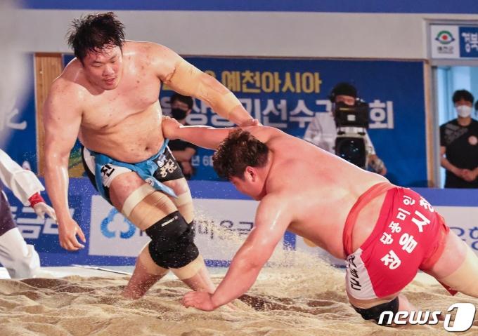 [사진] 김진, 예천단오장사씨름대회 백두장사 등극