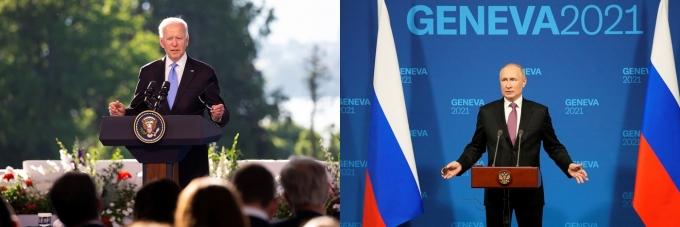 """조 바이든 미국 대통령(왼쪽)은 지난 16일(현지시간) 블라디미르 푸틴 러시아 대통령과 첫 정상 회담을 가진 후 """"분위기가 긍정적""""이었다고 평가했다. 사진 오른쪽은 푸틴 러시아 대통령. /사진=로이터"""