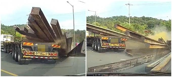 도로를 운행 중이던 화물차에서 H빔이 쏟아져 큰 사고가 날뻔했다./ 사진=커뮤니티 캡처