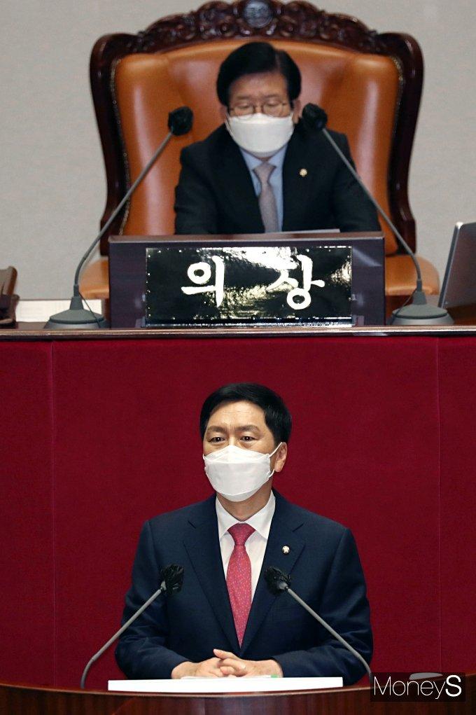 [머니S포토] 본회의에서 대표연설 하는 김기현