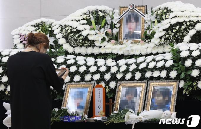 경기도 성남시 소재 국군수도병원 장례식장에 마련돼 있는 이모 공군 중사의 분향소. 2021.6.7/뉴스1 © News1 박세연 기자