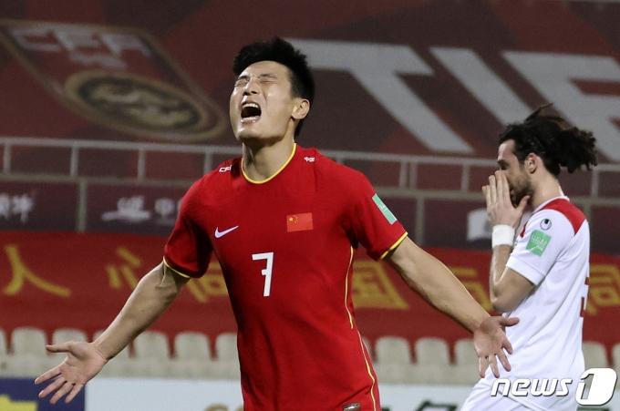 중국 대표팀의 우레이 © AFP=뉴스1