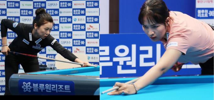김가영(왼쪽)과 스롱 피아비가 오는 20일 오후 경북 경주 블루원리조트에서 열리는 '2021-22 블루원리조트 PBA-LPBA 투어 챔피언십' LPBA 결승전에서 만난다. /사진=PBA