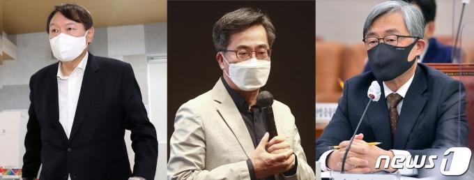 왼쪽부터 윤석열 전 검찰총장, 김동연 전 경제부총리, 최재형 감사원장.© 뉴스1