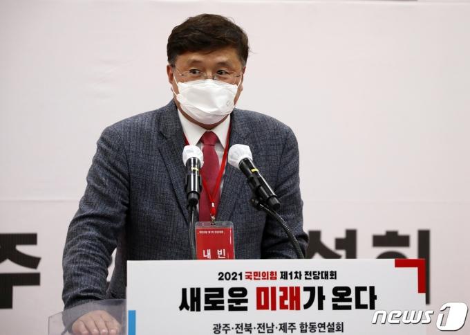 장성철 국민의힘 제주도당 위원장이 지난 5월 30일 오후 광주 서구 치평동 김대중컨벤션센터에서 인사말하고 있다. © News1