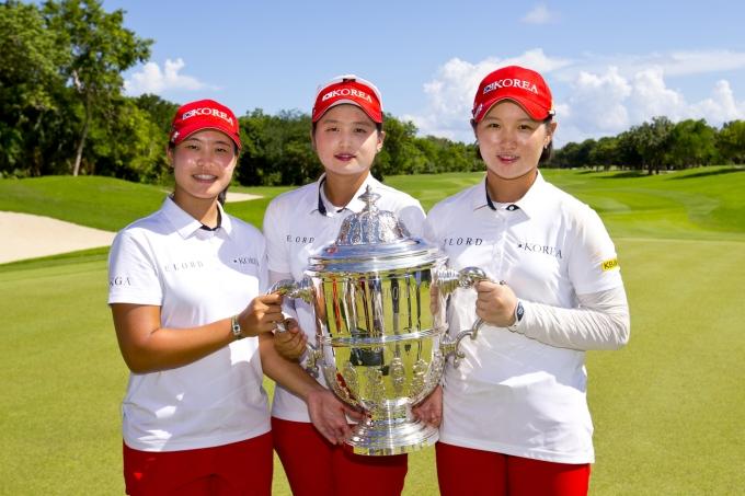 2016년 세계 팀 선수권대회 우승을 합작한 박민지(왼쪽부터), 최혜진, 박현경. (대한골프협회 제공) © 뉴스1