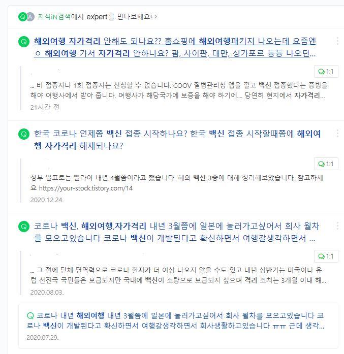 누리꾼들이 코로나 백신을 접종 완료하면 자가격리 없이 해외여행을 할 수 있는지 질문하고 있다./사진= 네이버 지식인 캡처