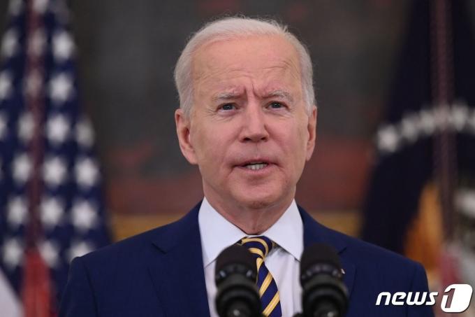 조 바이든 미국 대통령이 2021년 6월 18일 백악관에서 코로나19 대응과 백신 접종 상황 관련 발언하는 모습. © AFP=뉴스1