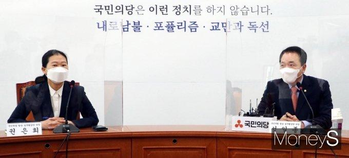 [머니S포토] 국민의힘-국민의당 합당 실무협상단, 인사말 정하는 '성일종'