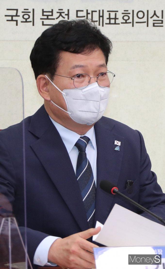 [머니S포토] 송영길 '택배기사 과로방지 대책 합의문 공식 발표'